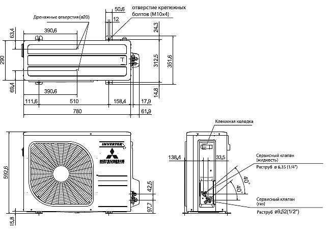 Наружный блок кондиционера: размеры, габариты, устройство, установка