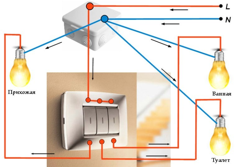 Трехклавишный выключатель света - схемы и правила подключения своими руками (инструкция с фото и видео)