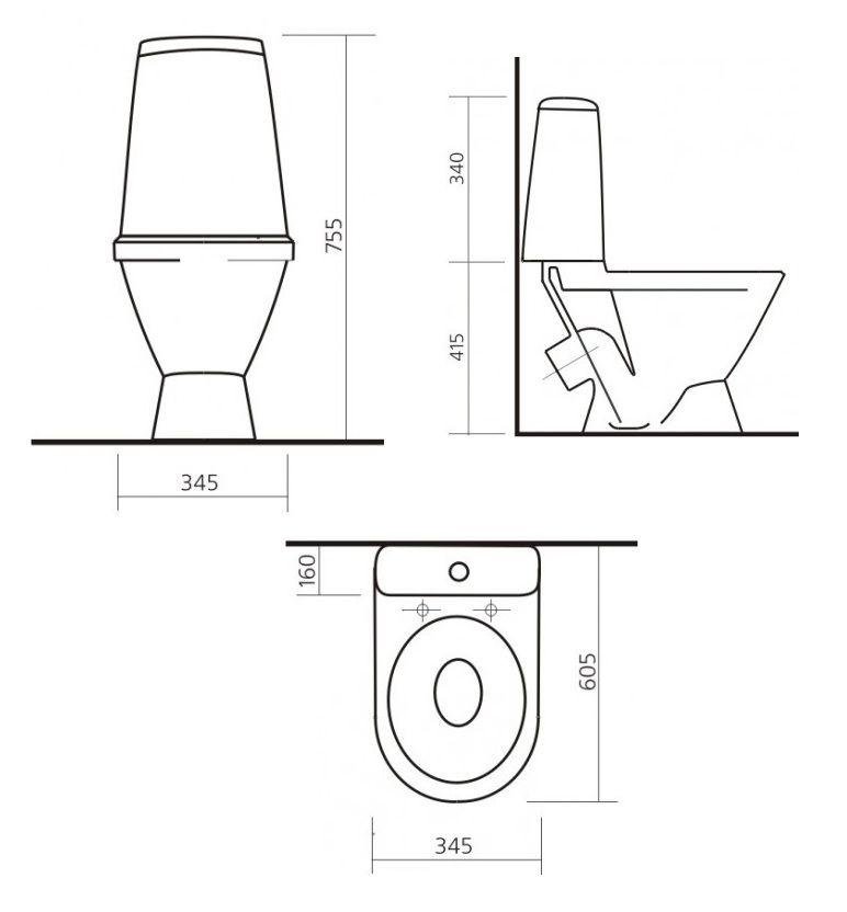 Размер унитаза с бачком - все о канализации