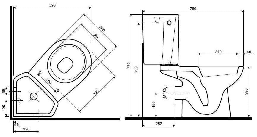 Угловой унитаз с бачком: плюсы и минусы, схема и особенности установки унитаза в углу