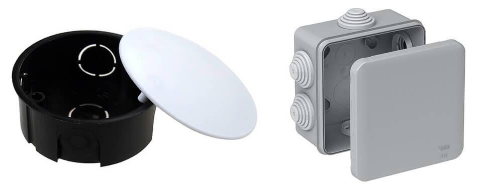 Распаечные коробки для открытой проводки: под штукатурку, под дерево, устройство