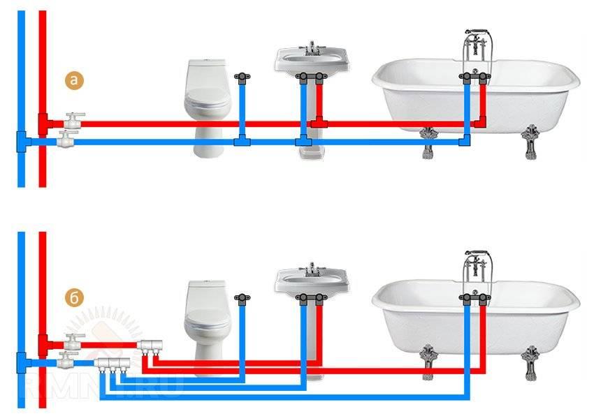 Разводка труб в ванной своими руками: последовательная и параллельная схемы