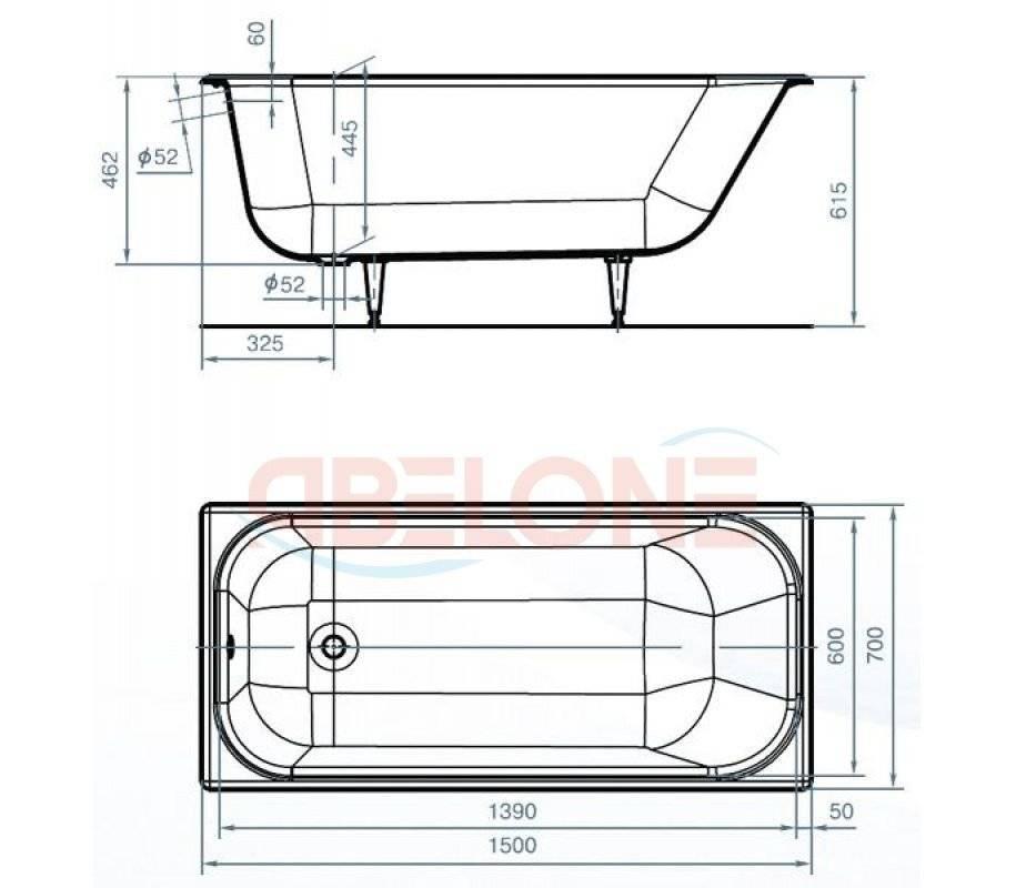 Размеры акриловых ванн: габариты вариантов с каркасом, продукция параметрами 150х70, 180х80, 120х70 и 140х70 см, прямоугольная ванна размером 170х80, 160х70, 180х70 см
