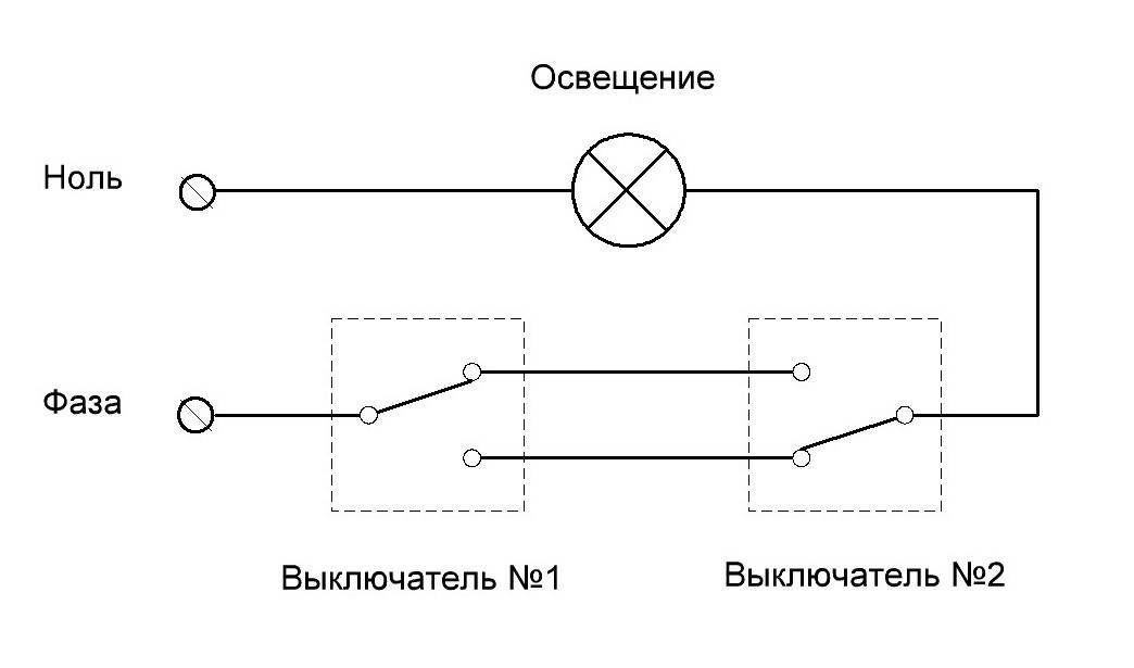 Схема подключения проходного выключателя - варианты подсоединения и правила применения