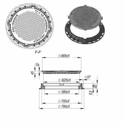 Размеры канализационных люков полимерных, технические характеристики, монтаж