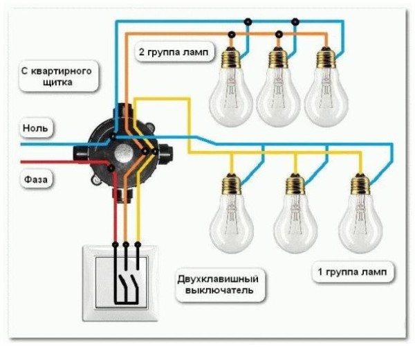 Подключение люстры с тремя проводами : выбор инструмента, как подключать к двухклавишному выключателю