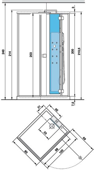 Размеры душевой кабины и габариты поддона