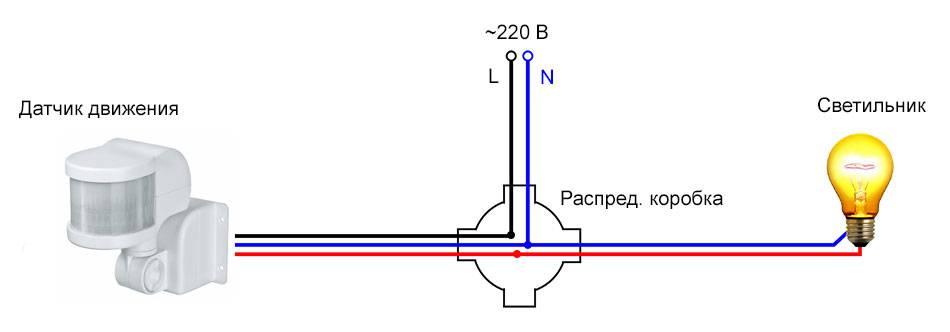 Схема подключения и настройка датчика движения для включения освещения
