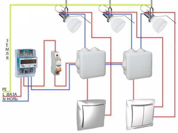 Схема подключения проходного выключателя: подключаем пошагово с двух и трех мест