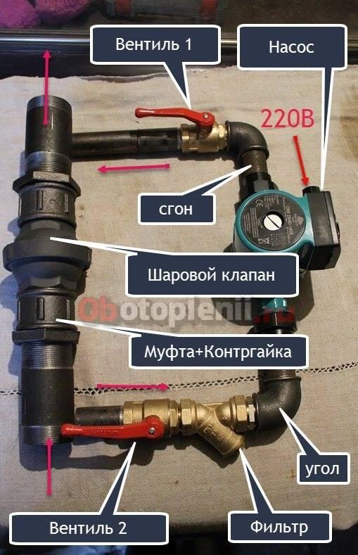 Два варианта врезки циркуляционного насоса   отопление дома и квартиры