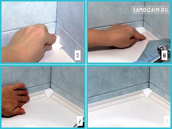 Бордюры для ванной: керамический, пластиковый, самоклеющийся
