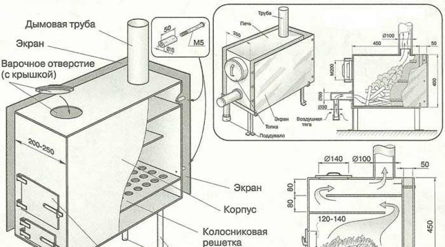 Принцип работы, конструкция, чертёж печи длительного горения