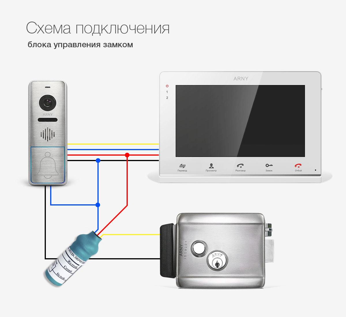 Схема подключения домофона с электромагнитным замком в частный дом