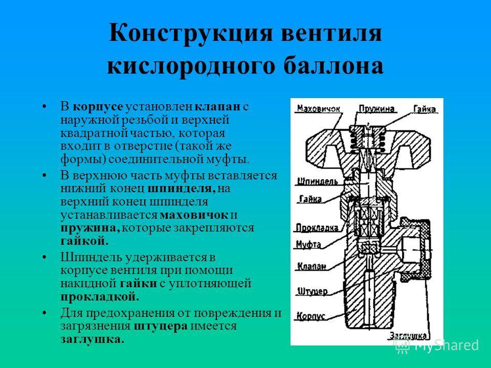 Вентиль на газовый (кислородный) баллон: устройство, замена